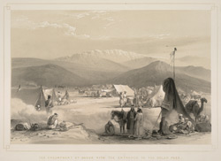 The encampment at Dadur with the entrance to the Bolan Pass
